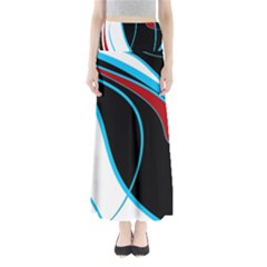 Blue, Red, Black And White Design Maxi Skirts