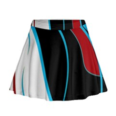 Blue, Red, Black And White Design Mini Flare Skirt