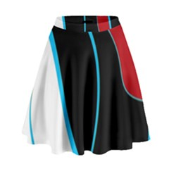 Blue, Red, Black And White Design High Waist Skirt