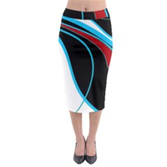 Blue, Red, Black And White Design Midi Pencil Skirt