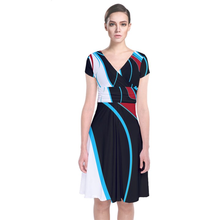Blue, Red, Black And White Design Short Sleeve Front Wrap Dress