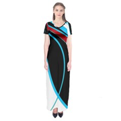 Blue, Red, Black And White Design Short Sleeve Maxi Dress