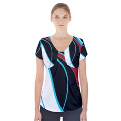 Blue, Red, Black And White Design Short Sleeve Front Detail Top