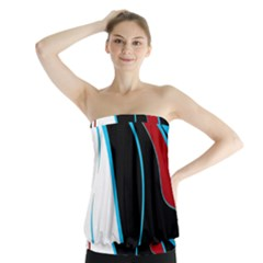 Blue, Red, Black And White Design Strapless Top