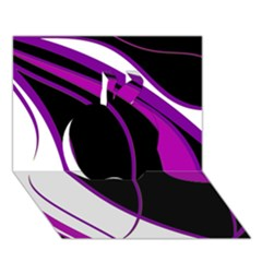 Purple Elegant Lines Apple 3D Greeting Card (7x5)