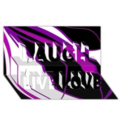 Purple Elegant Lines Laugh Live Love 3D Greeting Card (8x4)