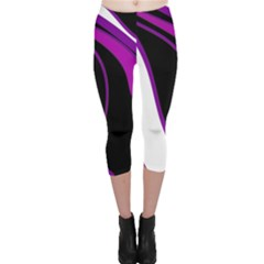 Purple Elegant Lines Capri Leggings