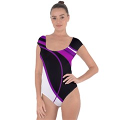 Purple Elegant Lines Short Sleeve Leotard