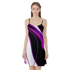 Purple Elegant Lines Satin Night Slip