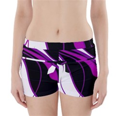 Purple Elegant Lines Boyleg Bikini Wrap Bottoms