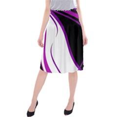 Purple Elegant Lines Midi Beach Skirt