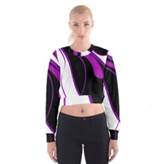 Purple Elegant Lines Women s Cropped Sweatshirt