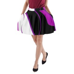 Purple Elegant Lines A-Line Pocket Skirt