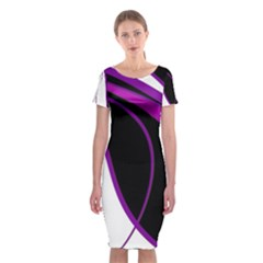 Purple Elegant Lines Classic Short Sleeve Midi Dress