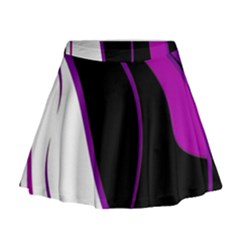 Purple Elegant Lines Mini Flare Skirt
