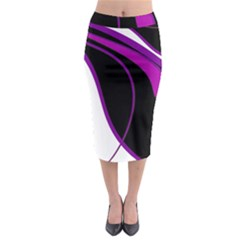 Purple Elegant Lines Midi Pencil Skirt