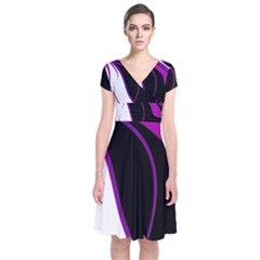 Purple Elegant Lines Short Sleeve Front Wrap Dress