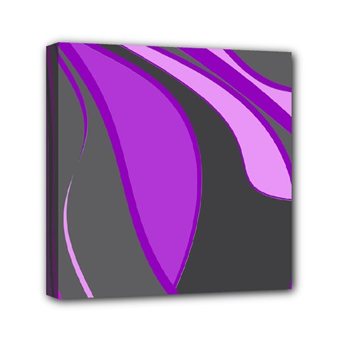 Purple Elegant Lines Mini Canvas 6  x 6