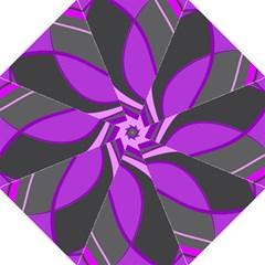 Purple Elegant Lines Hook Handle Umbrellas (Large)