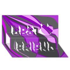 Purple Elegant Lines Best Friends 3D Greeting Card (8x4)