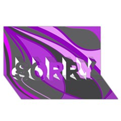 Purple Elegant Lines SORRY 3D Greeting Card (8x4)