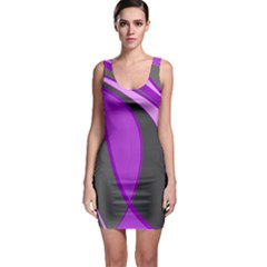 Purple Elegant Lines Sleeveless Bodycon Dress