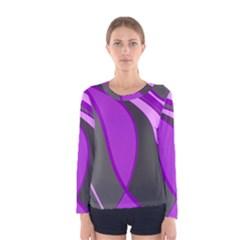 Purple Elegant Lines Women s Long Sleeve Tee