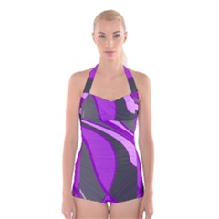 Purple Elegant Lines Boyleg Halter Swimsuit