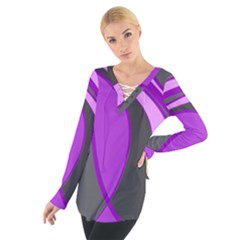 Purple Elegant Lines Women s Tie Up Tee