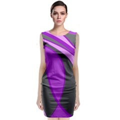 Purple Elegant Lines Classic Sleeveless Midi Dress