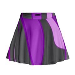 Purple Elegant Lines Mini Flare Skirt