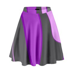 Purple Elegant Lines High Waist Skirt