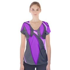 Purple Elegant Lines Short Sleeve Front Detail Top