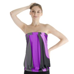 Purple Elegant Lines Strapless Top
