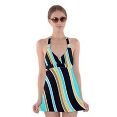 Elegant Lines Halter Swimsuit Dress