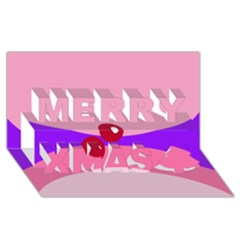 Decorative Abstraction Merry Xmas 3D Greeting Card (8x4)