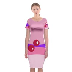 Decorative Abstraction Classic Short Sleeve Midi Dress