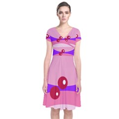Decorative Abstraction Short Sleeve Front Wrap Dress