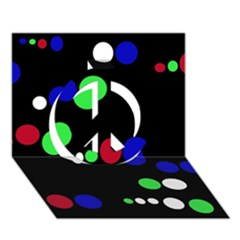 Colorful Dots Peace Sign 3D Greeting Card (7x5)