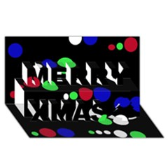Colorful Dots Merry Xmas 3D Greeting Card (8x4)
