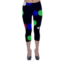 Colorful Dots Capri Winter Leggings