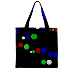 Colorful Dots Zipper Grocery Tote Bag