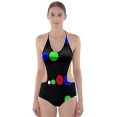 Colorful Dots Cut Out One Piece Swimsuit