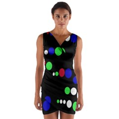 Colorful Dots Wrap Front Bodycon Dress