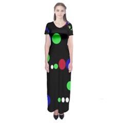 Colorful Dots Short Sleeve Maxi Dress