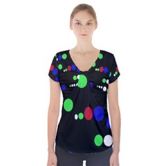 Colorful Dots Short Sleeve Front Detail Top