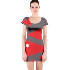 Decorative Abstraction Short Sleeve Bodycon Dress