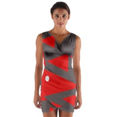 Decorative Abstraction Wrap Front Bodycon Dress