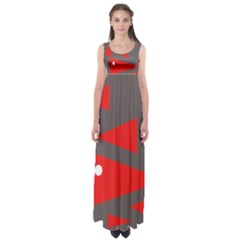 Decorative Abstraction Empire Waist Maxi Dress