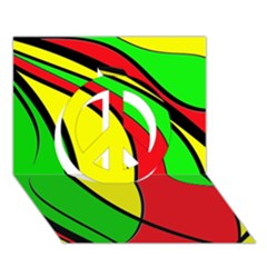 Colors Of Jamaica Peace Sign 3D Greeting Card (7x5)